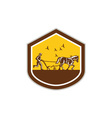 Farmer and Horse Plowing Field Shield Retro vector image vector image