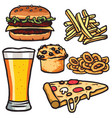 fast food junk food products set drawing vector image