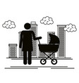 figure mother with baby cart silhouette avatars vector image vector image