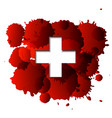first aid cross on red blood splatter vector image vector image