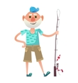 Funny senior fisherman vector image vector image
