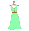 green dress on white background vector image vector image