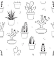 Hand drawn tropical cactus seamless pattern vector image vector image