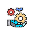 hand holds a gears tech development engineering vector image vector image