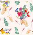 hands and flowers vintage summer seamless vector image