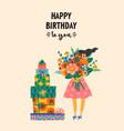 happy birthday cute lady vector image vector image