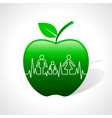Heartbeat make family icon inside the apple vector image