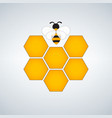 honeycomb and the bee poster white background vector image