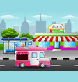 ice cream truck in front of the toy shop near a st vector image