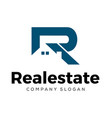 initial r letter real estate logo design vector image vector image