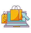 laptop online shopping bag tag price vector image vector image