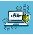 laptop protection internet security gears vector image