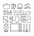 Line kitchen icons vector image
