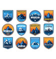 mountain tourism and rock climbing icons vector image