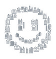 municipal and living buildings icons set vector image vector image