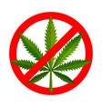 no drugs red forbidden sign with green realistic vector image