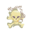 no smoking sign with skull and bones bad habit vector image vector image