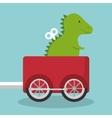 rex dinosaur in train wagon vector image vector image