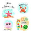 sea adventure and hot summer underwater animals vector image vector image