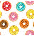 seamless pattern with tasty doughnuts vector image vector image