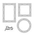 set floral doodle frames on white background vector image
