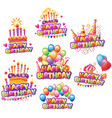 set happiness birth day stickers vector image