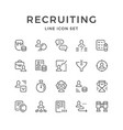 set line icons of recruiting vector image vector image
