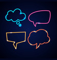 set neon speech bubbles and blank template vector image vector image