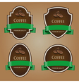 Set of dark labels with green tape Coffee theme vector image vector image