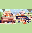 street food festival festival vendors shops vector image vector image