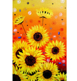 Sunflowers acrylic painting Verson vector image vector image