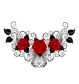 Symmetrical Tattoo of Red Roses vector image vector image