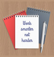 text work smarter not harder vector image vector image