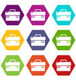 tool box icons set 9 vector image vector image