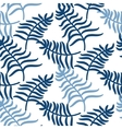 Tropical jungle palm leaves blue color pattern vector image vector image