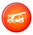Truck mounted crane icon flat style vector image