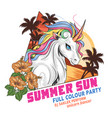 unicorn summer with beach and coconut tree vector image vector image
