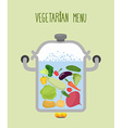 Vegetables in a saucepan Logo for vegetarian menu vector image vector image
