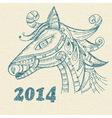 hand drwan horse symbol of 2014 year vector image