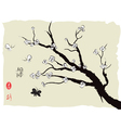 chinese painting of spring plum blossom vector image