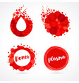 abstract red drop logo set design vector image vector image