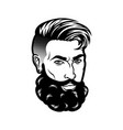 bearded men face hipster head with haircuts vector image