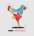 breakdancer dancing and making a frieze on one vector image vector image