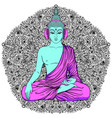 buddha over colorful neon background vector image