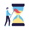 businessman with flag and hourglass time vector image vector image