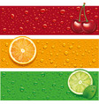 cherry orange background with many water drops vector image vector image
