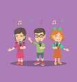 children choir singing a song with microphones vector image