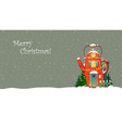 christmas greeting card with cute red house in vector image vector image