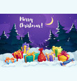 christmas present box and santa gift bag card vector image