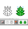 christmas tree sale banner line icon vector image vector image